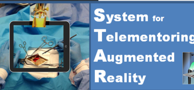 Medical telementoring using an augmented reality transparent display.